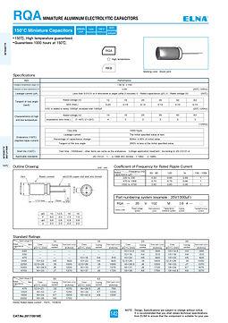 Elna RQA Series Aluminum Electrolytic Capacitors