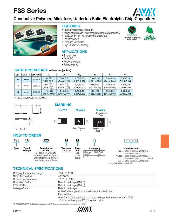 AVX F38 Series Polymer Capacitors