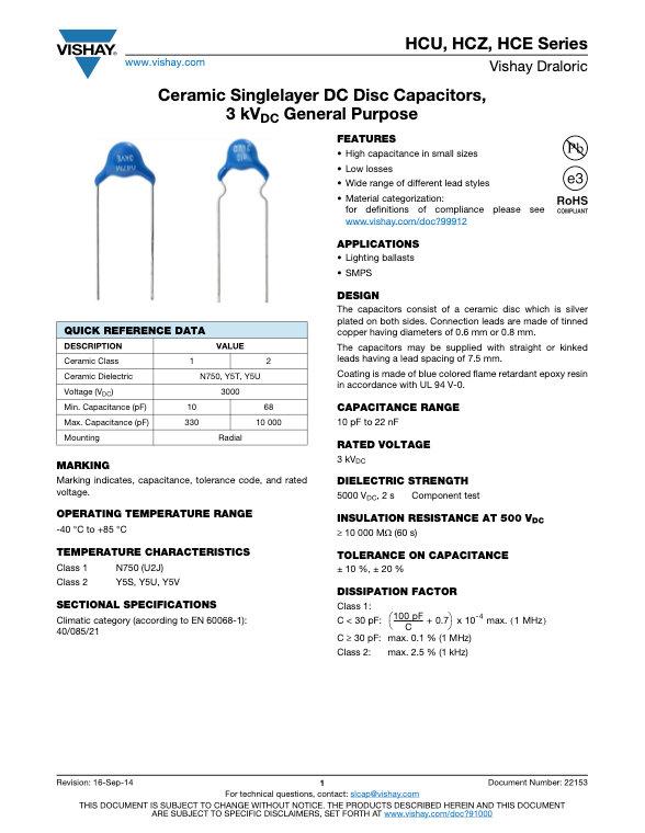 Vishay HC... Series Ceramic Disc Capacitors