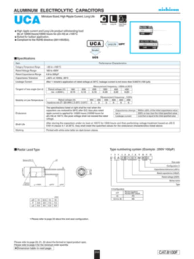 Nichicon UCA Aluminum Capacitor Data Sheets