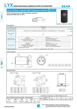 Elna LYX Series Aluminum Electrolytic Capacitors