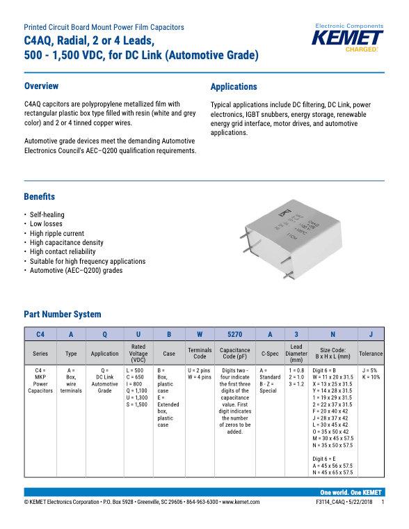KEMET C4AQ Series Plastic Film Capacitors