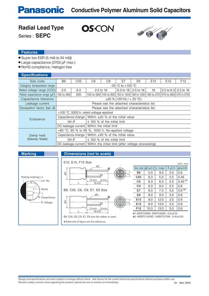 Panasonic SEPC Series Aluminum Polymer Capacitors