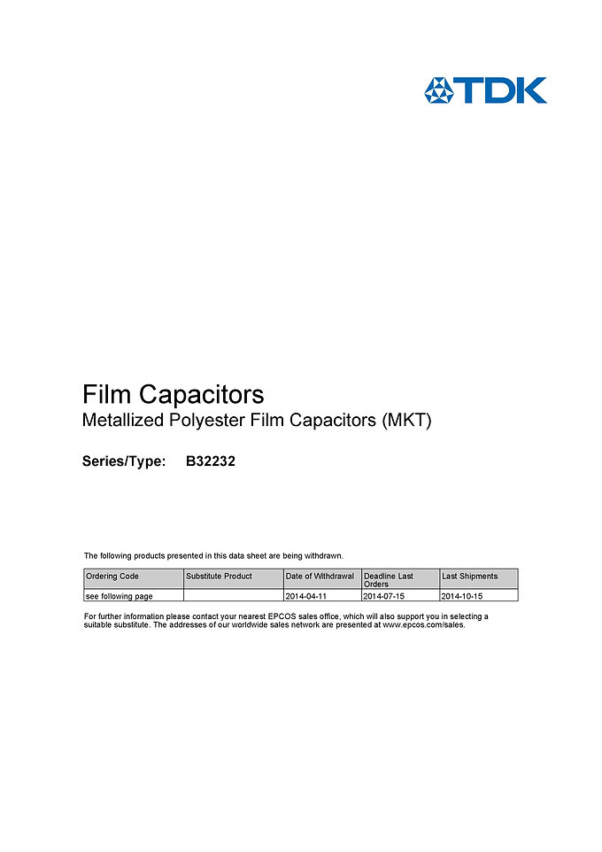 Epcos B32232 Series Metallized Polyester Capacitors