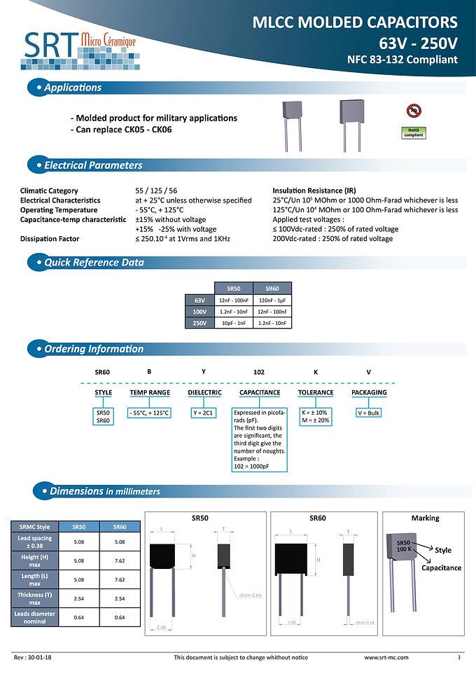 SRT Microceramique Molded Radial X7R 63V-250V MLC Capacitors