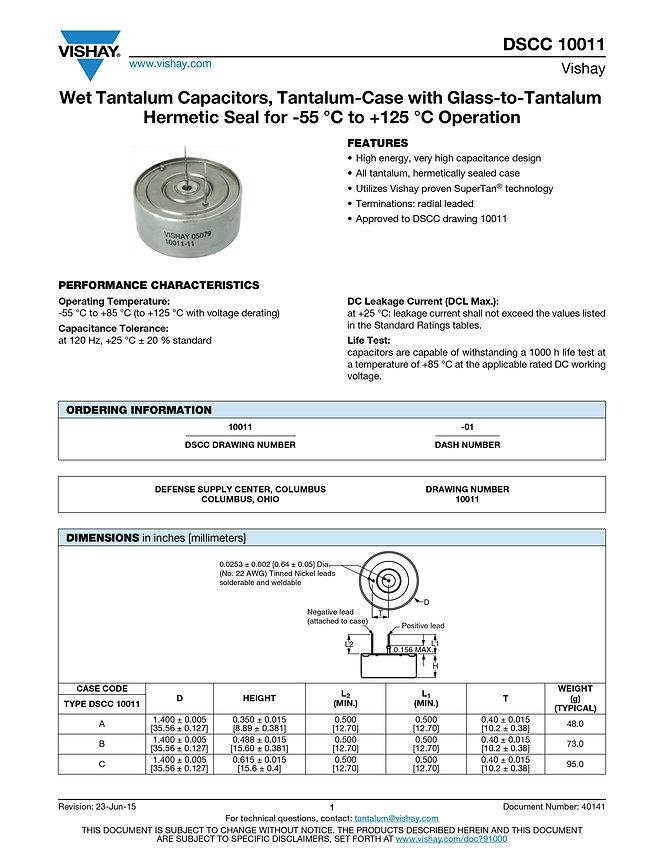 Vishay DSCC 10011 Series Tantalum Capacitors