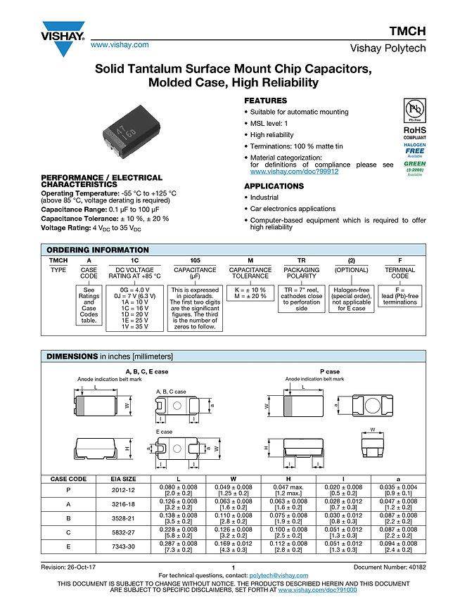 Vishay TMCH Series Tantalum Capacitors