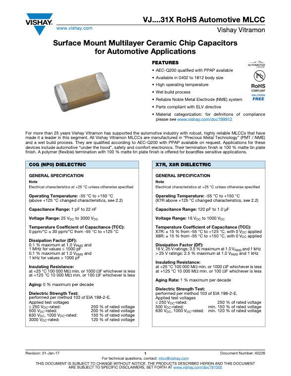 Vishay VJ...31X Series MLC Capacitors