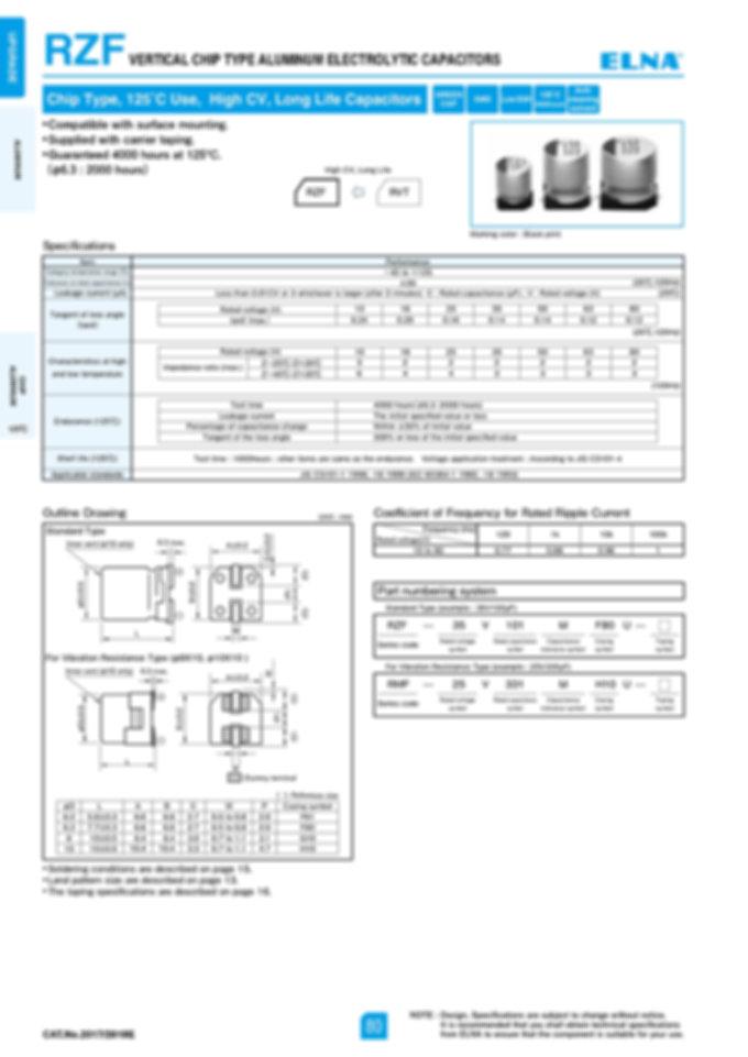 Elna RZF Series Aluminum Electrolytic Capacitors