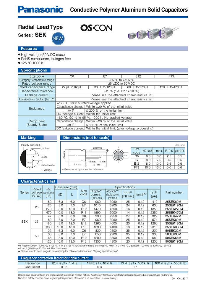 Panasonic SEK Series Aluminum Capacitors