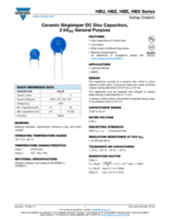 Vishay HB... Series Ceramic Disc Capacitors