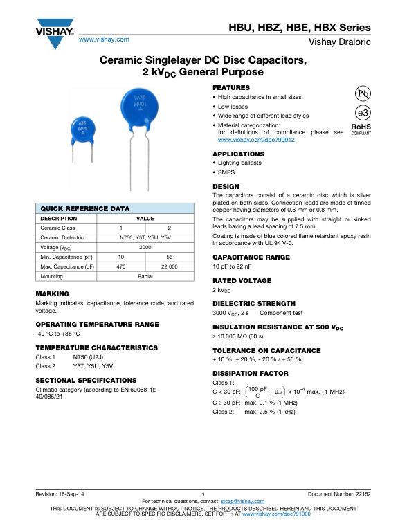 Vishay HB... Series Ceramic Disc Capacitors