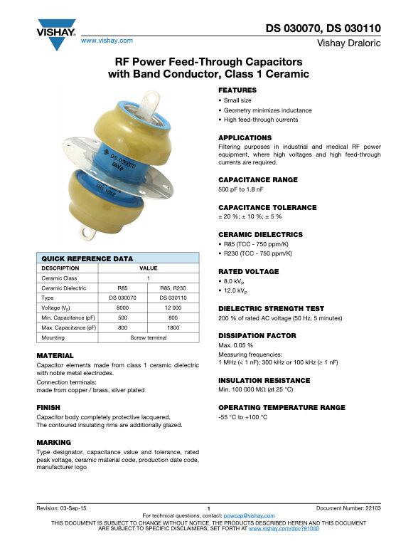 Vishay DS 030... Series RF Ceramic Capacitors