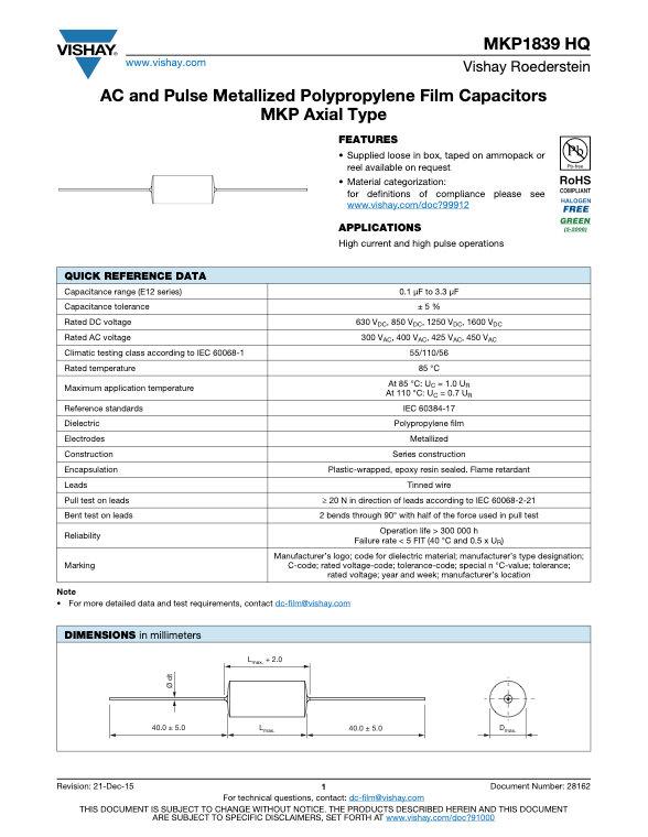 Vishay MKP1839 HQ Series Plastic Film Capacitors