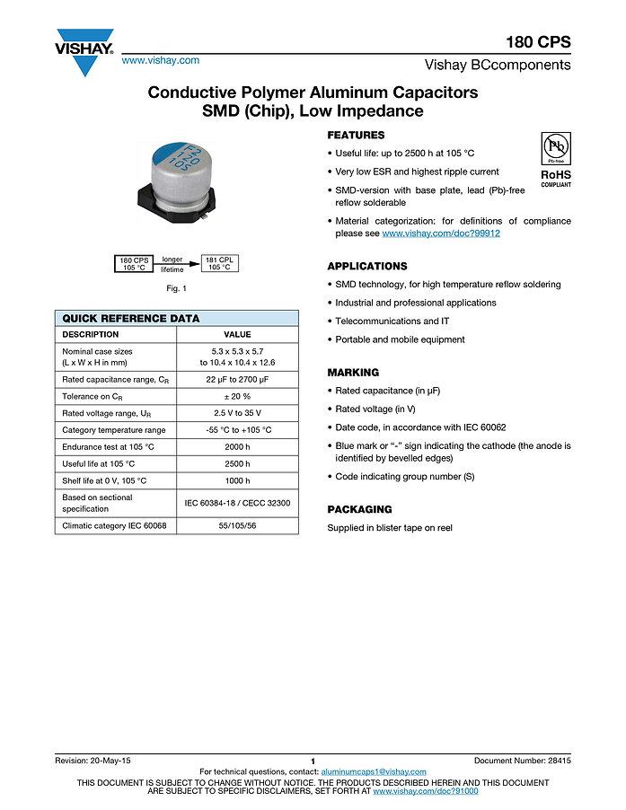 Vishay 180 CPS Series Aluminum Capacitors