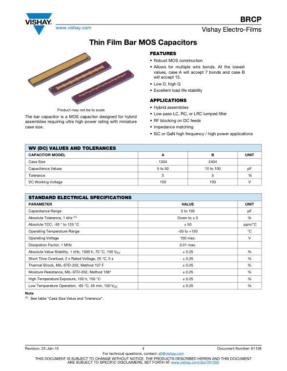 Vishay BRCP Series Thin Film Bar MOS Capacitors