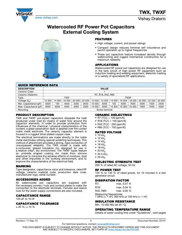 Vishay TWX, TWXF Series RF Ceramic Capacitors
