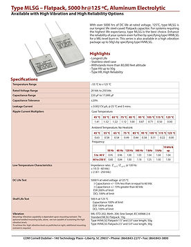 CDE Type MLSG Aluminum Electrolytic Capacitor
