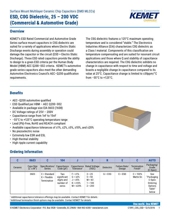 KEMET ESD COG Series MLC Capacitors