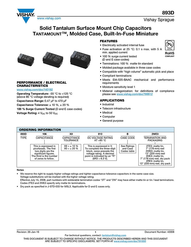 Vishay 893D Series Tantalum Capacitors