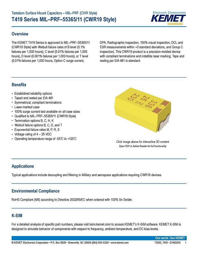 KEMET T419 Series Tantalum Capacitors