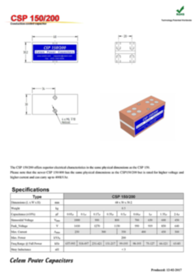 Celem CSP 150/200 Series Film Capacitors