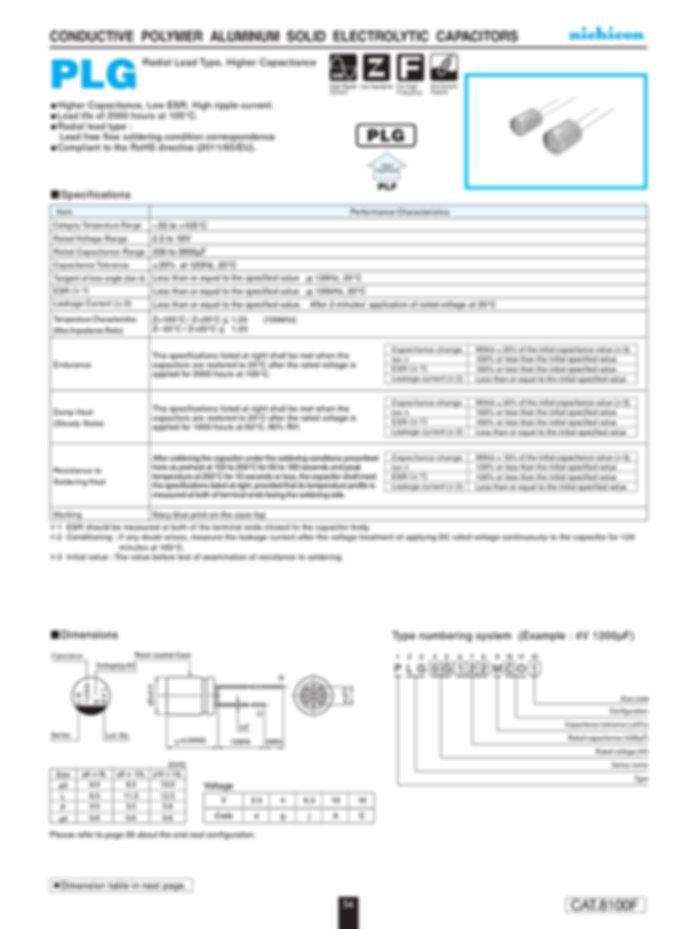 Nichicon PLG Series Aluminum Polymer Capacitors