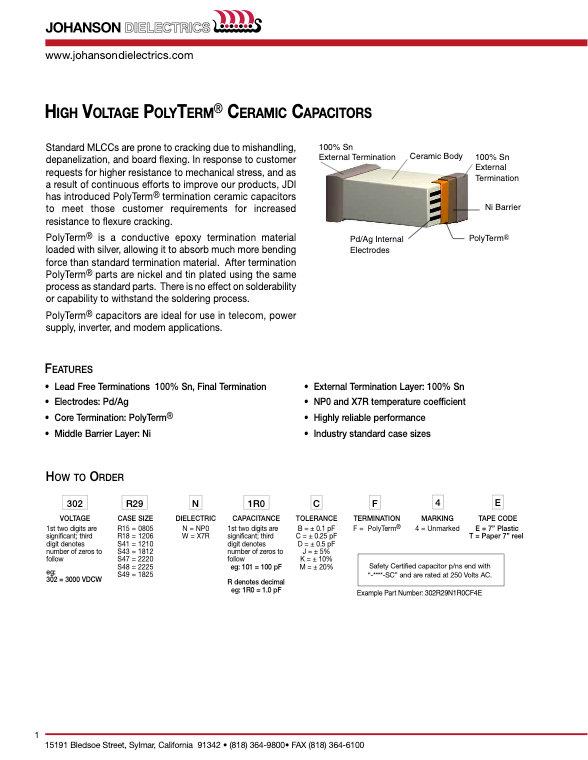 JDI Polyterm Multilayer Ceramic Capacitors