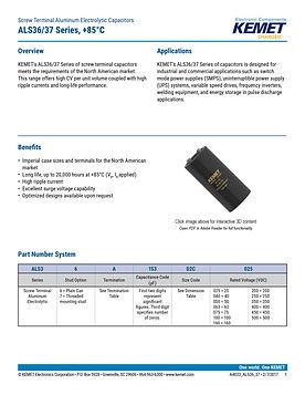 KEMET ALS36/37 Series Aluminum Electrolytic Capacitors
