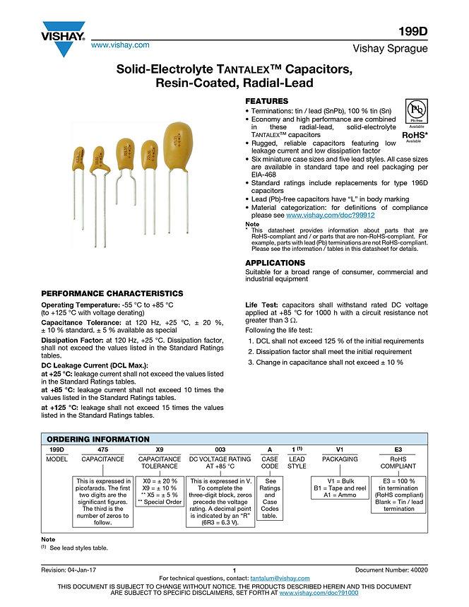 Vishay 199D Series Tantalum Capacitors
