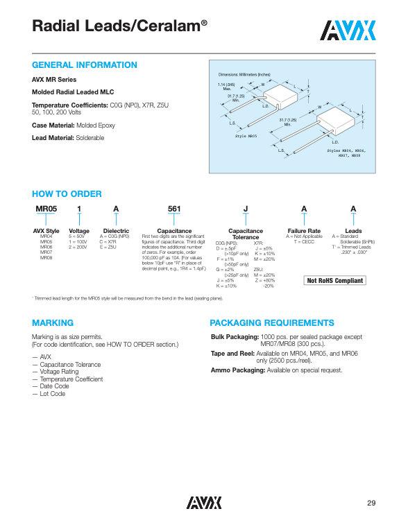 AVX MR Series MLC Capacitors