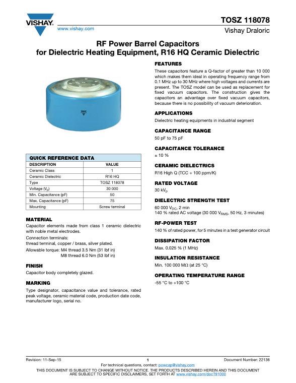Vishay TOSZ 118078 Series RF Ceramic Capacitors