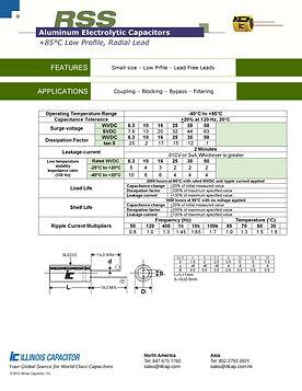 Illinois Capacitor RSS Series Radial Aluminum Electrolytic Capacitors