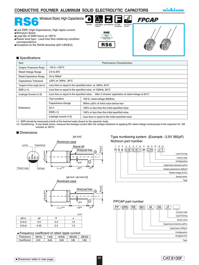 Nichicon RS6 Series Aluminum Polymer Capacitors