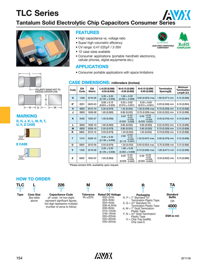 AVX TLC Series Tantalum Capacitors