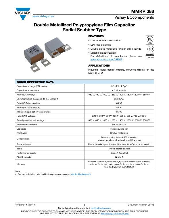 Vishay MMKP386 Series Film Capacitors