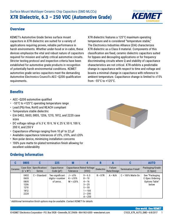 KEMET X7R Automotive Grade MLC Capacitors