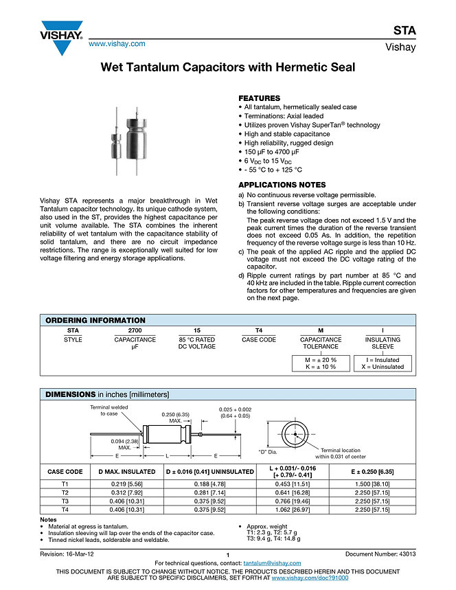 Vishay STA Series Wet Tantalum Capacitors