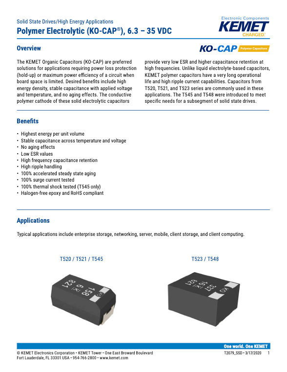 KEMET SSD Tantalum Polymer Capacitors