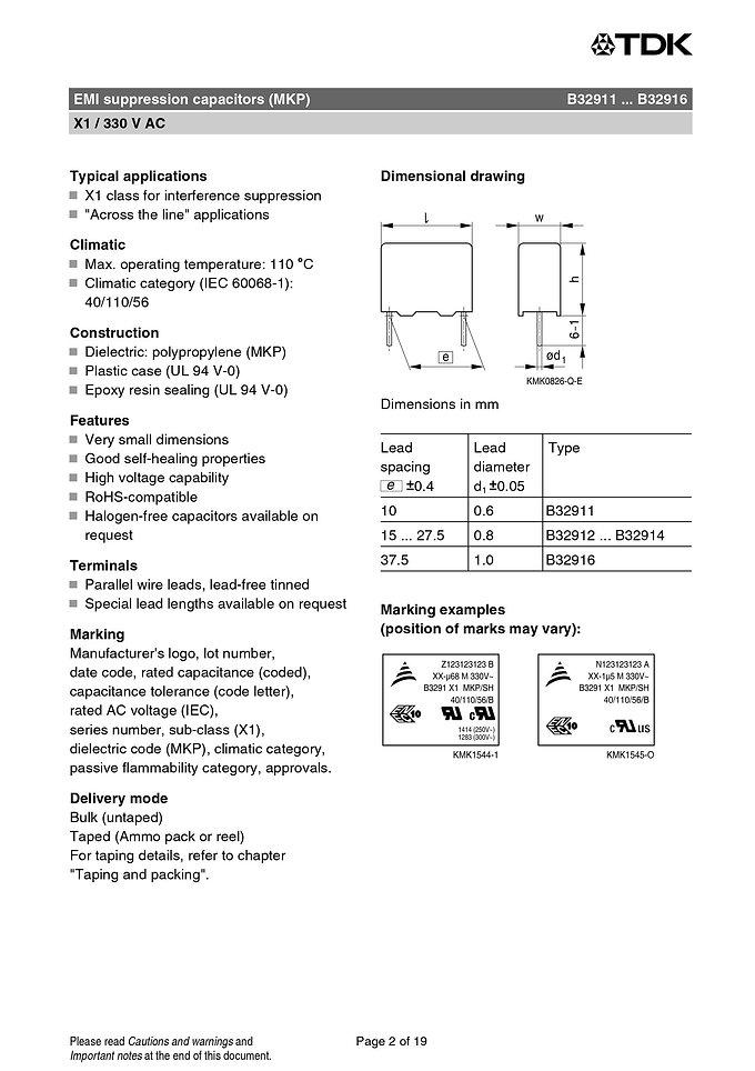Epcos B32911 Series EMI Suppression Capacitors
