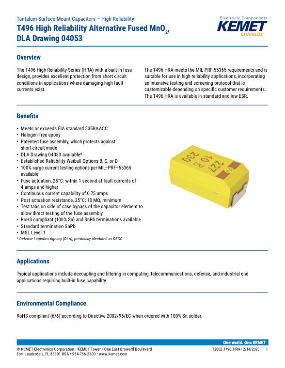 KEMET T496 HRA Series Tantalum Capacitors