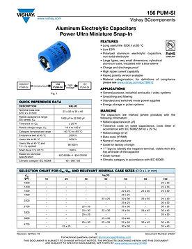 Vishay 156 PUM-SI Series Aluminum Electrolytic Capacitors