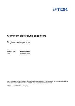 Epcos B42824 Series Aluminum Electrolytic Capacitors