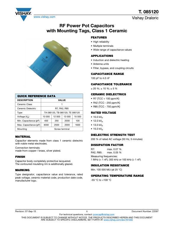 Vishay T. 085120 Series RF Ceramic Capacitors