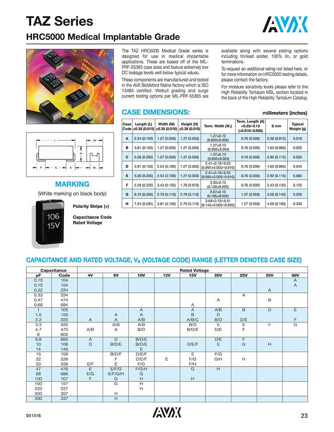 AVX TAZ HRC5000 Series Tantalum Capacitors