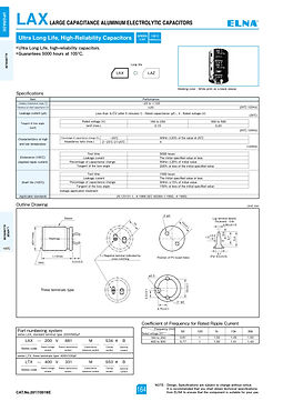 Elna LAX Series Aluminum Electrolytic Capacitors