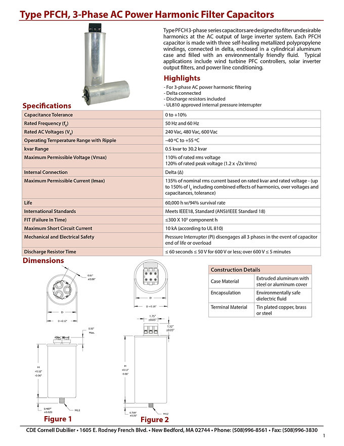 CDE PFCH Series Film Capacitors