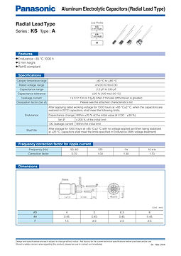 Panasonic KS Series Aluminum Capacitors