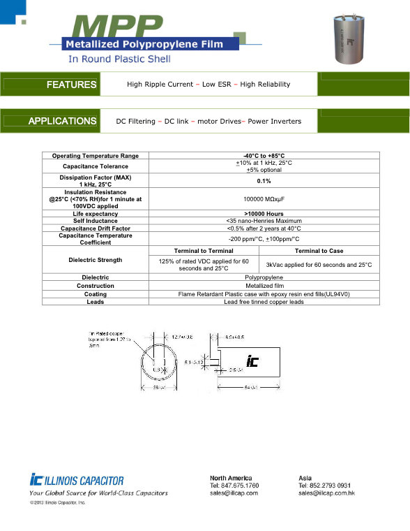 Illinois Capacitor MPP Series Plastic Film Capacitors