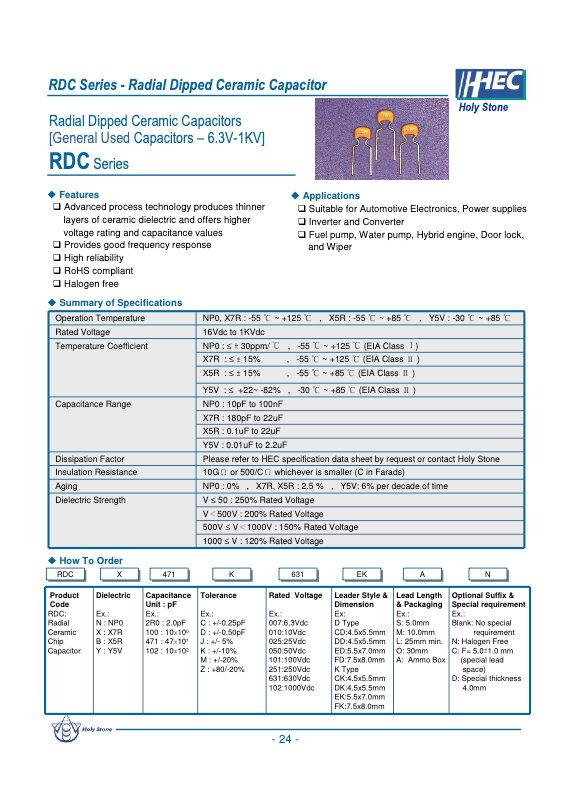 Holystone RDC Series MLC Capacitors